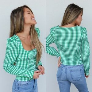 Tops - green gingham top